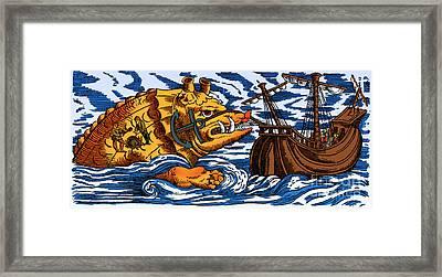 Aspidochelone, Legendary Sea Monster Framed Print