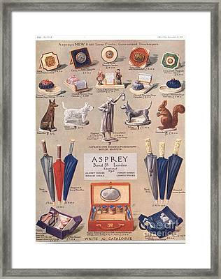 Asprey 1925 1920s Uk Asprey Gifts Framed Print by The Advertising Archives