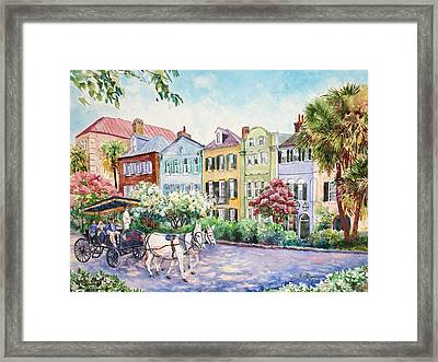 Assault And Battery On Rainbow Row Framed Print
