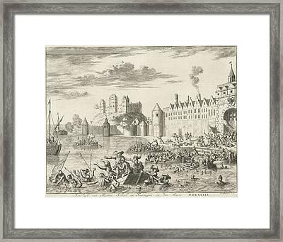Assault Of Martin Schenck At Nijmegen, 1589 Framed Print by Jan Luyken And Abraham Wolfgang