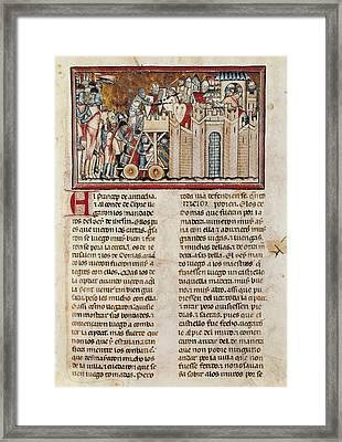 Assault On A Castle. Illustration Framed Print by Everett