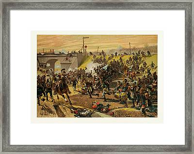 Assault On The Railway Dam Before Orleans By The First Framed Print by French School