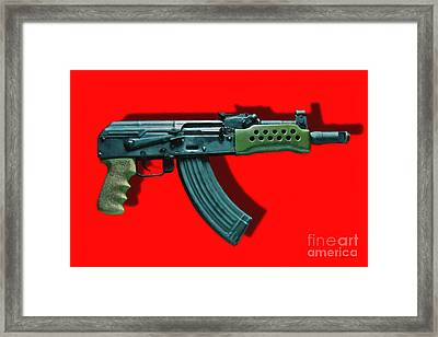 Assault Rifle Pop Art - 20130120 - V1 Framed Print by Wingsdomain Art and Photography