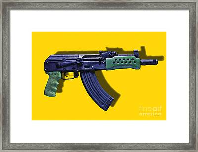 Assault Rifle Pop Art - 20130120 - V2 Framed Print by Wingsdomain Art and Photography