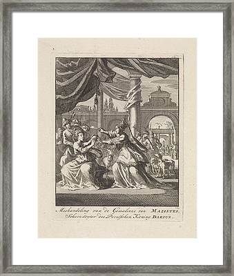 Assaulting Wife Of Masistes, Jan Luyken Framed Print by Quint Lox