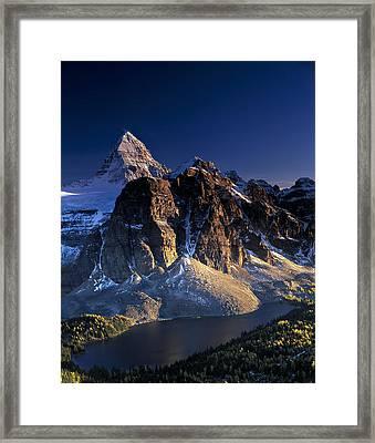 Assiniboine And Sunburst Peak At Sunset Framed Print