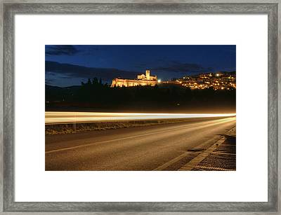 Assisi By Night Framed Print by Luca Roveda