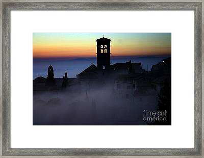 Assisi Steeple Sunset Framed Print by Henry Kowalski