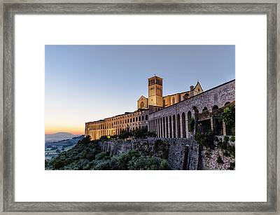 St Francis Of Assisi At Dusk - Assisi Italy Framed Print