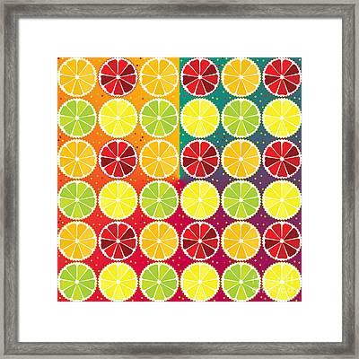 Assorted Citrus Pattern Framed Print by Gaspar Avila