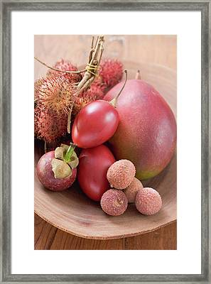 Assorted Exotic Fruits In A Dish Framed Print