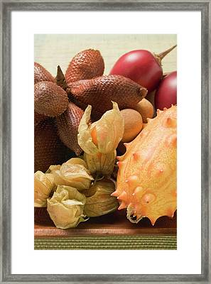 Assorted Exotic Fruits In Wooden Bowl Framed Print