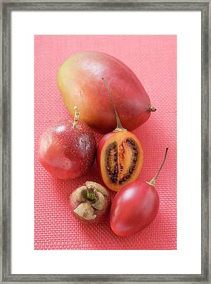 Assorted Exotic Fruits (overhead View) Framed Print