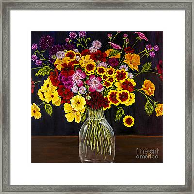 Assorted Flowers In A Glass Vase By Alison Tave Framed Print by Sheldon Kralstein