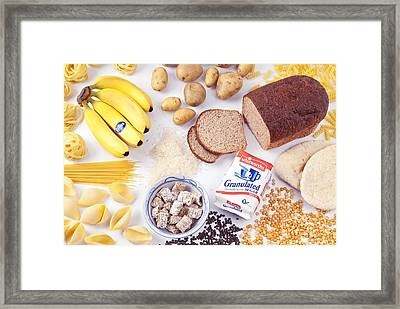 Assorted Foods Containing Carbohydrates Framed Print by Martyn F. Chillmaid