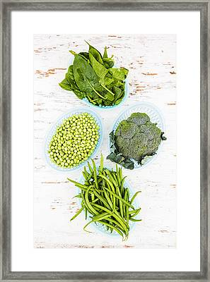 Assorted Green Vegetables Framed Print