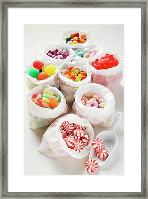 Assorted Sweets In Paper Bags (usa) Framed Print