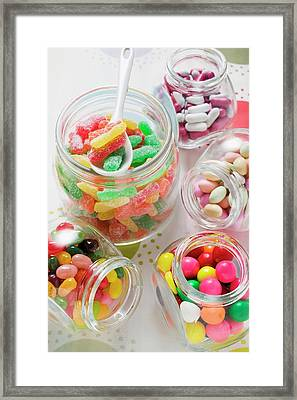 Assorted Sweets In Storage Jars Framed Print