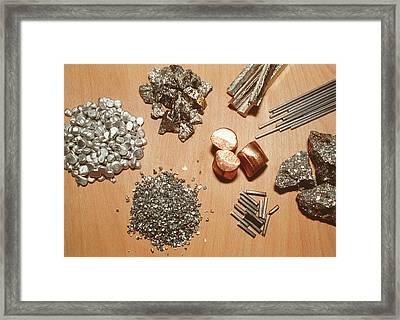 Assorted Transition Metals Framed Print by Klaus Guldbrandsen/science Photo Library