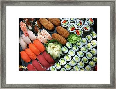 Assortment Of Japanese Sushi Favorites Framed Print