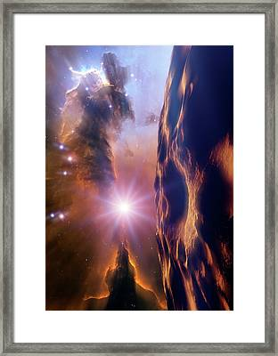 Asteroid And Eagle Nebula Framed Print by Nasa, Esa, And The Hubble Heritage Team Stsci/aura)/detlev Van Ravenswaay
