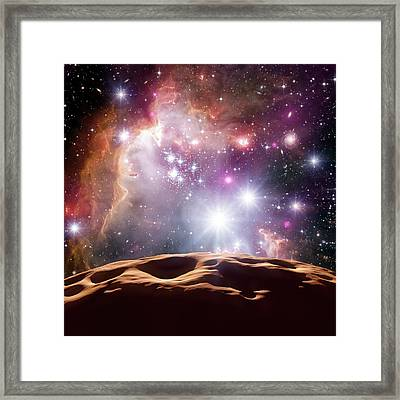 Asteroid And Star Cluster Framed Print