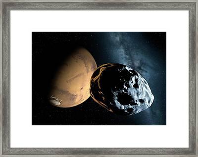 Asteroid Approaching Mars Framed Print by Detlev Van Ravenswaay