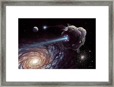 Asteroid Ark Starship Framed Print by Richard Bizley