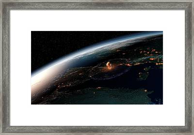 Asteroid Impact In Europe Framed Print