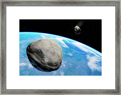 Asteroids Approaching Earth Framed Print by Detlev Van Ravenswaay
