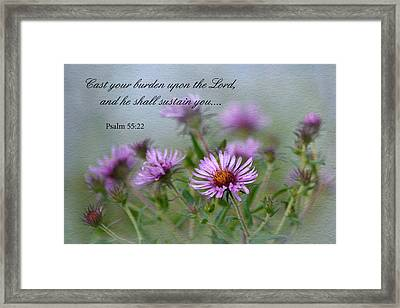 Asters With Scripture Framed Print by Ann Bridges