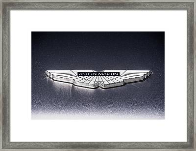 Framed Print featuring the digital art Aston Martin Badge by Douglas Pittman
