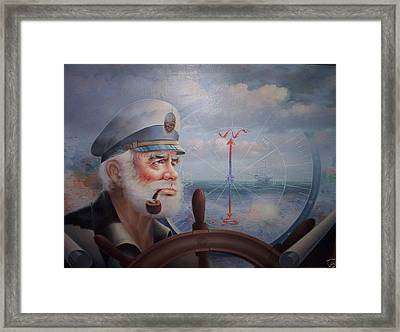 Astounding Sea Captain Original Or Map Captain 1987 Framed Print by Yoo Choong Yeul