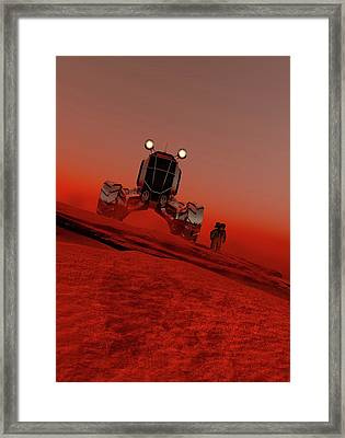 Astronaut And Vehicle On Mars Framed Print by Victor Habbick Visions