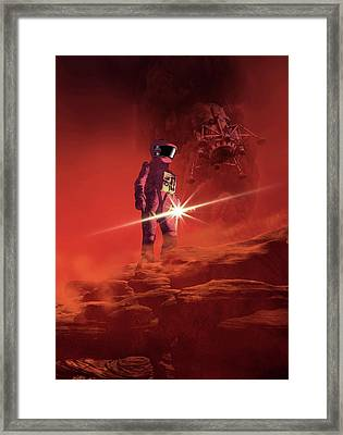 Astronaut Exploring Mars Framed Print by Victor Habbick Visions