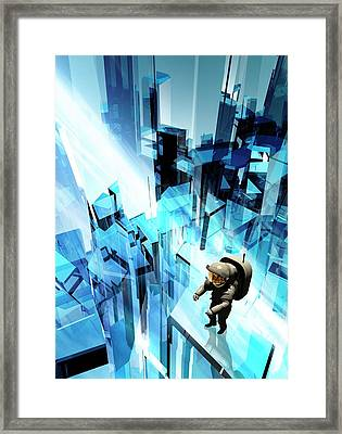 Astronaut On A Futuristic Building Framed Print