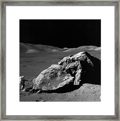 Astronaut On The Moon Framed Print by Underwood Archives