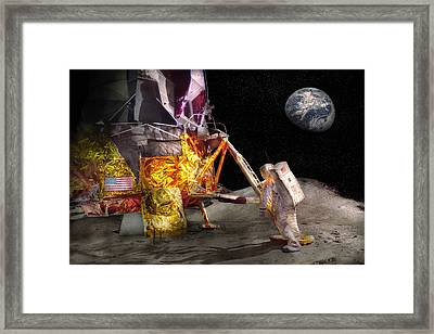 Astronaut - One Small Step Framed Print by Mike Savad