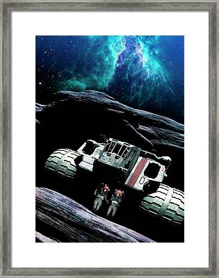 Astronauts And Mining Space Craft Framed Print
