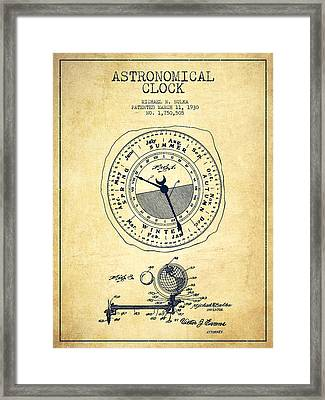 Astronomical Clock Patent From 1930 - Vintage Framed Print by Aged Pixel