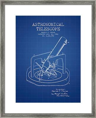 Astronomical Telescope Patent From 1943 - Blueprint Framed Print by Aged Pixel