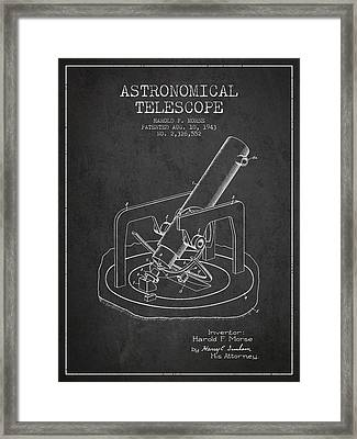 Astronomical Telescope Patent From 1943 - Dark Framed Print by Aged Pixel