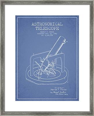 Astronomical Telescope Patent From 1943 - Light Blue Framed Print by Aged Pixel