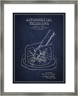 Astronomical Telescope Patent From 1943 - Navy Blue Framed Print by Aged Pixel