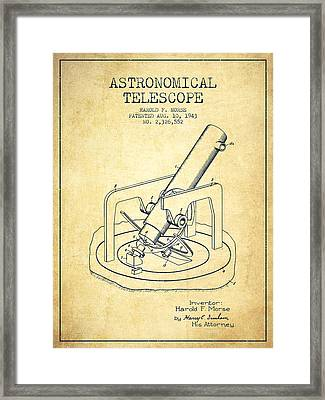Astronomical Telescope Patent From 1943 - Vintage Framed Print by Aged Pixel