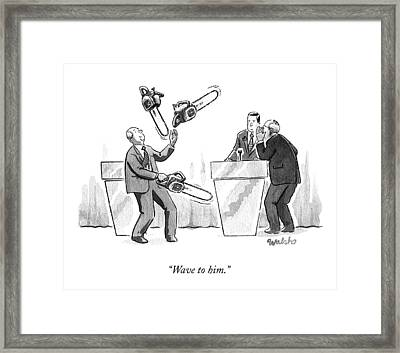 At A Candidate's Debate One Man Juggles Chainsaws Framed Print