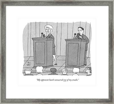 At A Candidate's Debate Framed Print