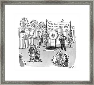 At A Carnival The Banner Reads Framed Print