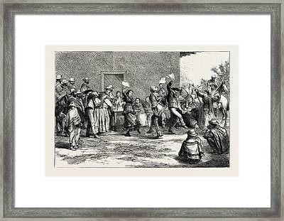 At A Chilian Rodeo Dancing The Cueca Framed Print by Chilean School