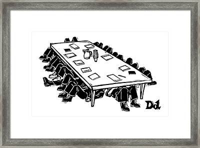 At A Conference Table Framed Print